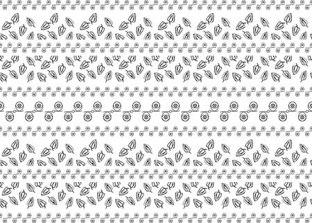 Ethnic style fabric print. Vector graphics. White seamless pattern with horizontal striped ornament