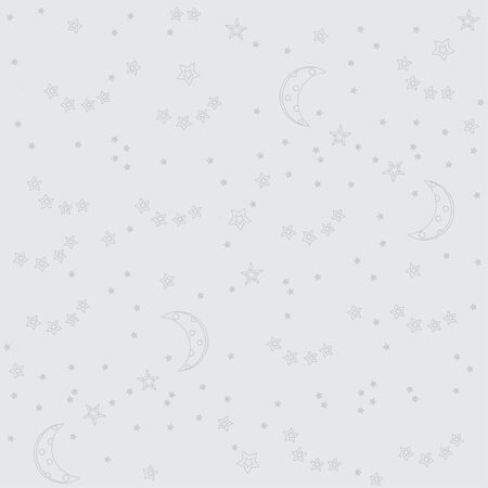 Night sky background with moon and stars. Vector seamless texture. Flat line stars on a grey background