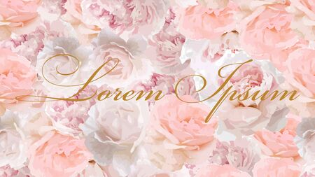 Web vector background 1920, 1080 px.Web background with beautiful roses . Pink color roses