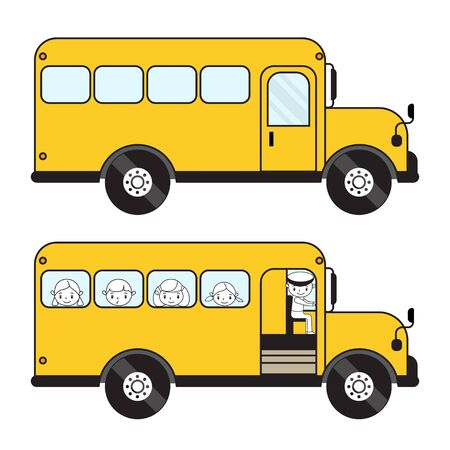 Vector schoolbus with children and empty. 스톡 콘텐츠 - 128589998