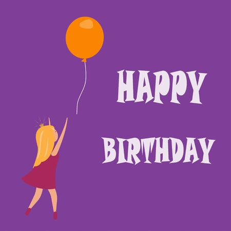 happy birthday card with lttle girl and a baloon. Vector illustration