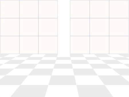 Vector white background. Checkered perspective floor and window in blue color