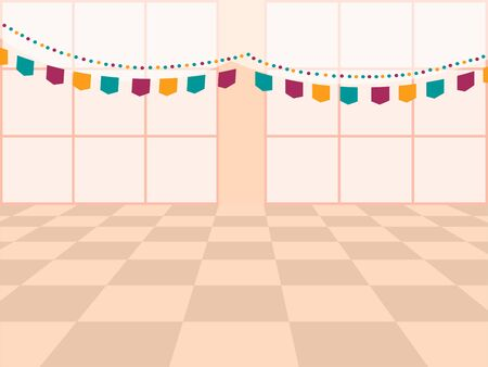 Vector template with decorated celebration room and flags Illusztráció