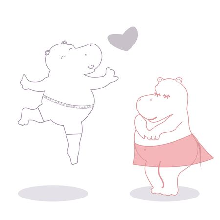 Valentines illustration with two contour hippos