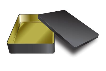 Template of metal box with cover up. Vector yellow inside and black outside realistic box