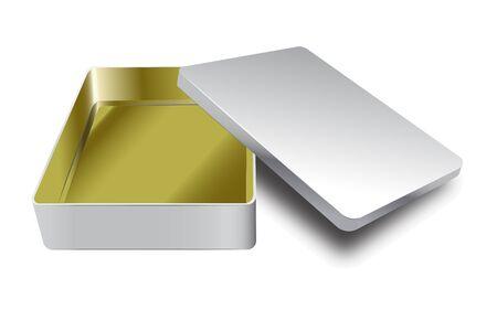 Szablon metalowego pudełka z zakrywką. Wektor żółty wewnątrz i srebrny poza realistycznym pudełkiem
