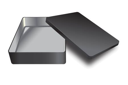 Template of metal box with cover up. Vector silver inside and black outside realistic box