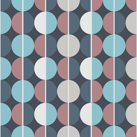 Modern vector abstract seamless pattern. Brown, blue and grey semicircles on a dark blue background. Vertical lines