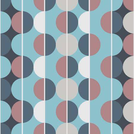 Modern vector abstract seamless pattern. Brown, blue and grey semicircles on a blue background. Vertical lines Illusztráció