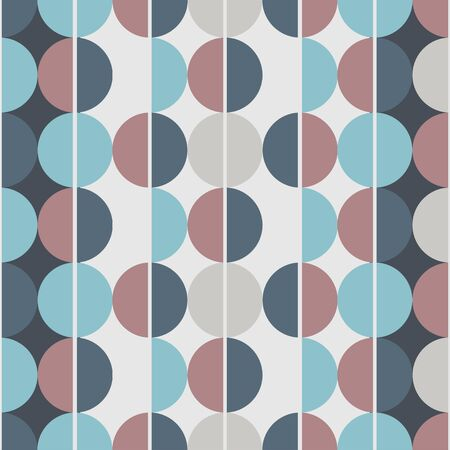 Modern vector abstract seamless pattern. Brown, blue and grey semicircles on a brown and blue background. Vertical lines Vektoros illusztráció