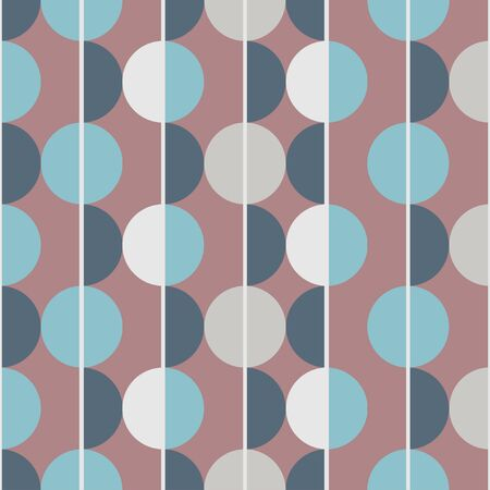 Modern vector abstract seamless pattern. Brown, blue and grey semicircles on a brown background. Vertical lines