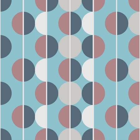 Modern vector abstract seamless pattern. Brown, white, grey and blue semicircles on a blue background. Vertical lines Illusztráció