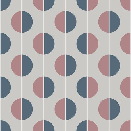 Modern vector abstract seamless pattern. Brown and blue semicircles on a grey background. Vertical lines