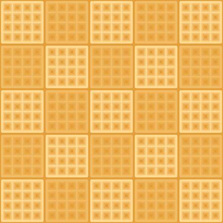 Seamless horizontal background with waffels. Illusztráció