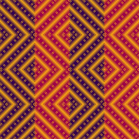 Vector ethnic rhombs texture . Carpet or wallpaper pattern. Red, blue and yellow colors