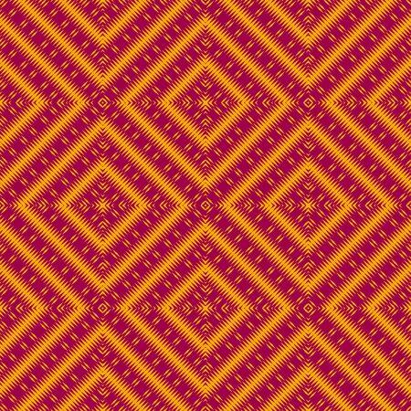 Vector ethnic rhombs texture . Red and yellow colors Illusztráció