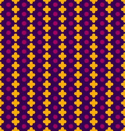 Vector seamless pattern with pluses and circles. Yellow crossroads and purple circles on a blue background