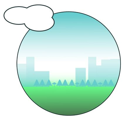 City landscape icon. Circle surrounded view. Cloud, bubble outside the frame