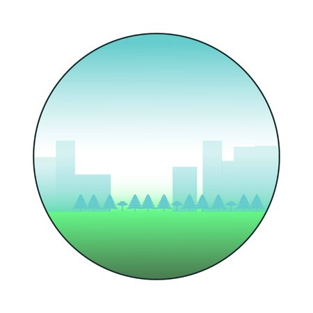 City landscape icon. Circle surrounded city view