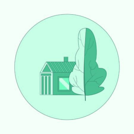 Building and tree icon. Blue colors vector logo in a circle frame Illusztráció