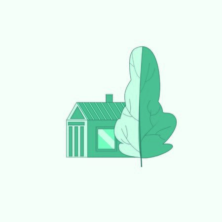 Building and tree icon. Blue colors vector logo