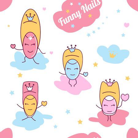 Cute kawaii little fingers cartoon, vector seamless pattern