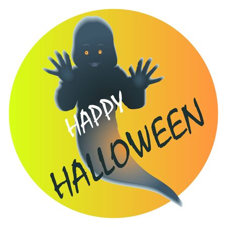 Happy halloween sticker with a friendly ghost Ilustrace