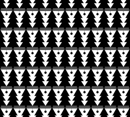 white seamless pattern for Christmas. Black trees and rhombs on a white background.