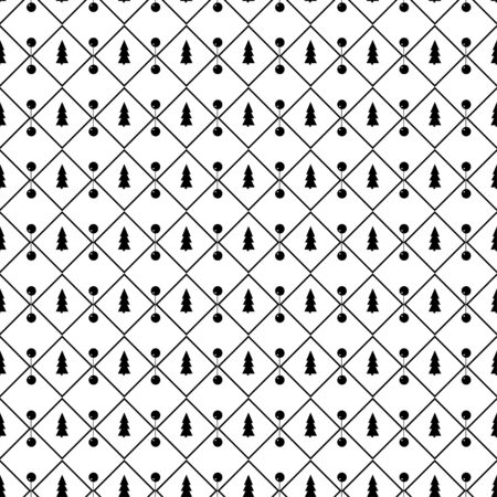 White seamless pattern for Christmas. Black trees and rhombs on a white background. Illusztráció