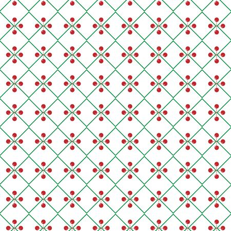 Vector seamless texture. Green rhombs and red balls. Christmas ornament