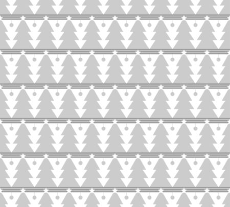 white seamless pattern for Christmas. Grey trees and rhombs on a white background.
