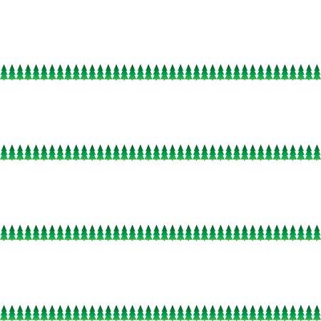 White seamless pattern for Christmas. Green tree borders on a white background. Horizontal backgroun