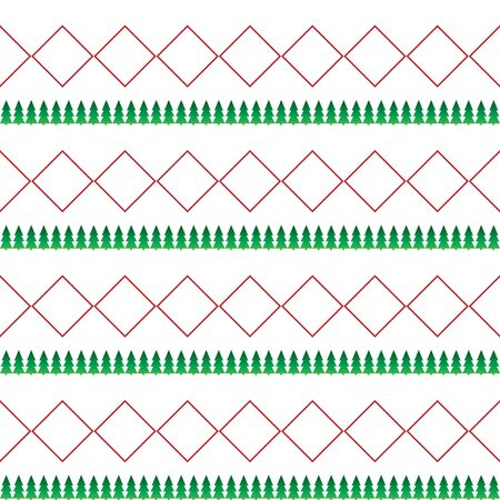 White seamless pattern for Christmas. Red and green ornament on a white background. Horizontal background Illusztráció