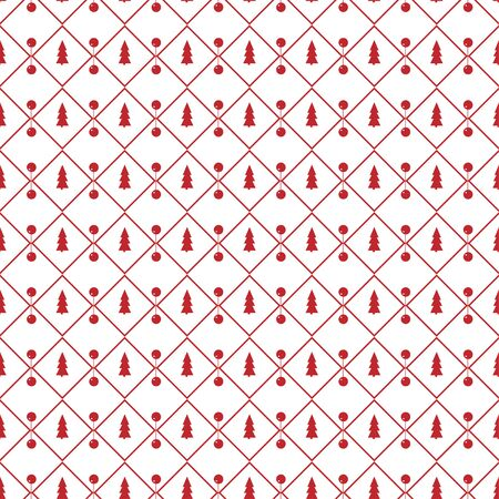 White seamless pattern for Christmas. Red ornament on a white background. Horizontal background