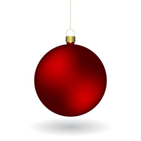 Vector christmas red ball hanging on a golden chain. Isolated on a white background