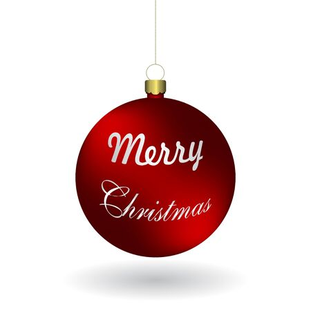 Vector christmas red ball hanging on a golden chain. Illusztráció
