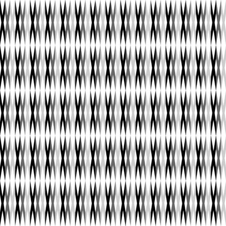 Vector abstract seamless pattern with horizontal lines. Small ethnic elements. Black and white pattern