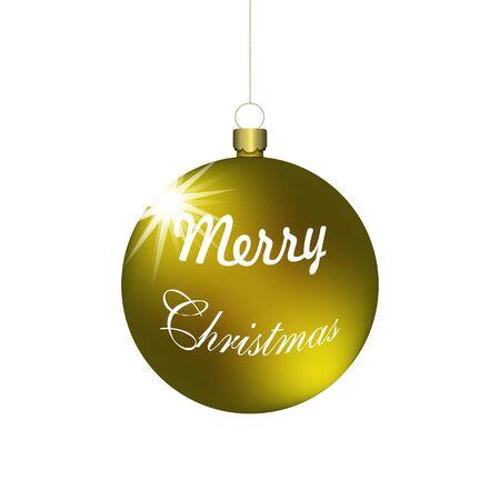 Vector christmas golden ball hanging on a golden chain.