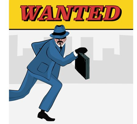 Vector illustration of a gangster with a suitcase of money.