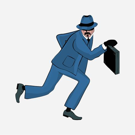Vector illustration of a man with a suitcase.