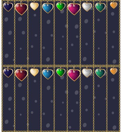 Valentines seamless background. Colorful heart pendants. Chain cages on a dark background 向量圖像