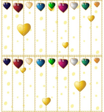 Valentines seamless background. Colorful heart pendants. Chain cages 向量圖像