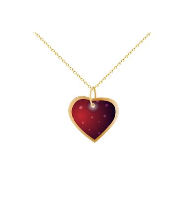 Red heart pendant. Golden chain. Valentines gift