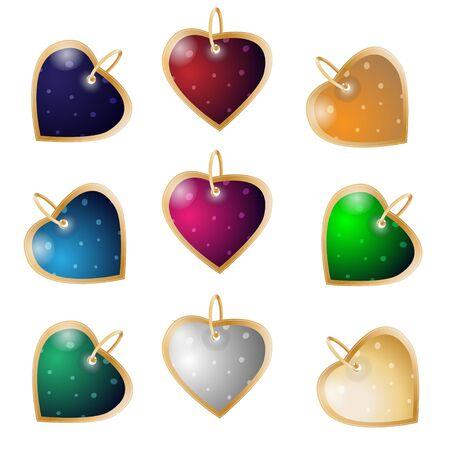 Set of nine heart pendants. Colorful valentines gift
