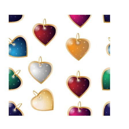 Valentines seamless background. Colorful heart pendants on a white background 向量圖像