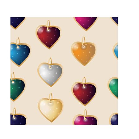 Valentines seamless background. Colorful heart pendants on a pink background 向量圖像