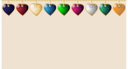 Valentines seamless background. Colorful heart pendants. Elements in a row