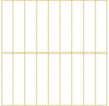 Cells seamless pattern. Golden chain fence. Golden cage