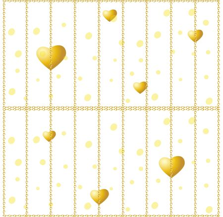 Golden hearts on a white background. Vector seamless texture for Valentines Day. Golden chain fence. Golden cage Ilustração