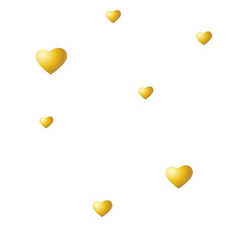 Golden hearts on a white background. Vector seamless texture for Valentines Day